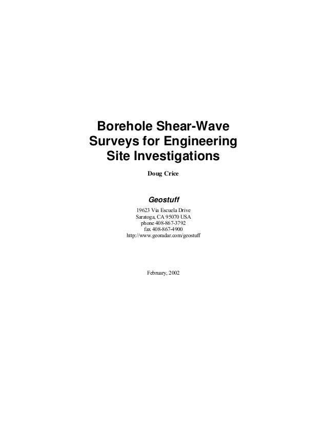 Borehole Shear-Wave Surveys for Engineering Site Investigations Doug Crice Geostuff 19623 Via Escuela Drive Saratoga, CA 9...