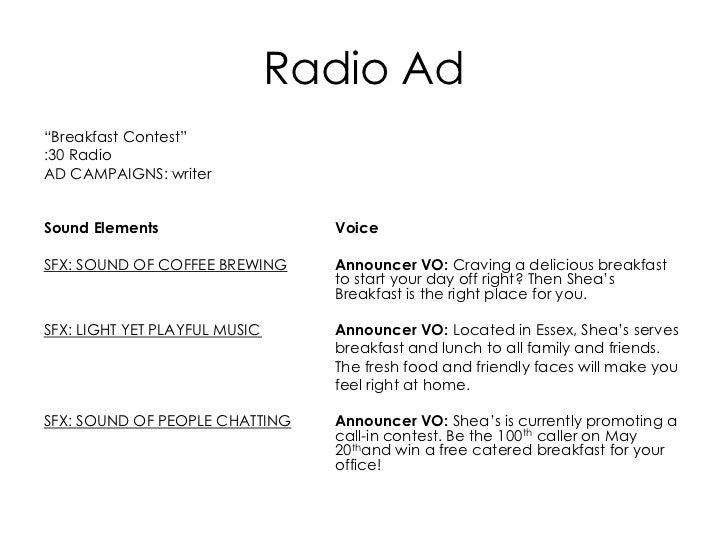 radio ad format