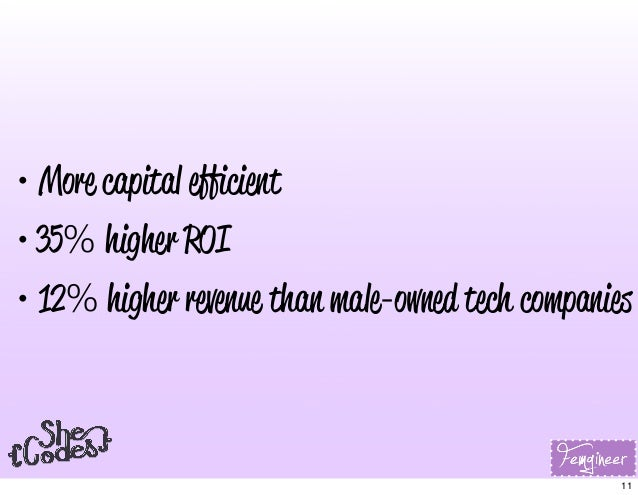 • More capital efficient • 35% higher ROI • 12% higher revenue than male-owned tech companies 11