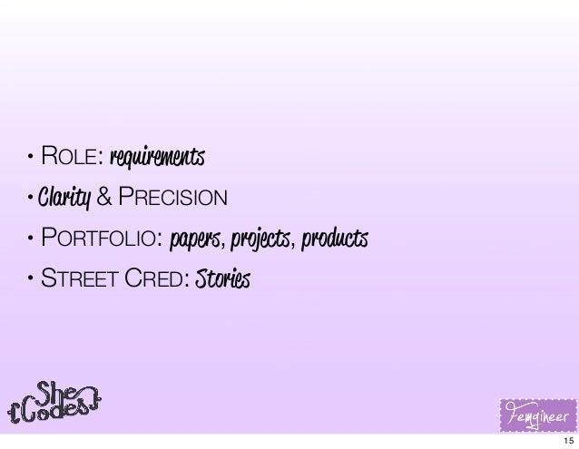 • ROLE: requirements • Clarity & PRECISION • PORTFOLIO: papers, projects, products • STREET CRED: Stories 15