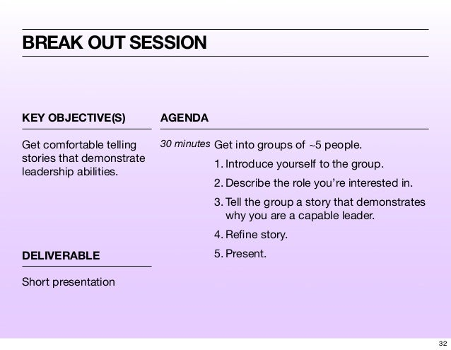KEY OBJECTIVE(S) AGENDA DELIVERABLE BREAK OUT SESSION Get comfortable telling stories that demonstrate leadership abilitie...