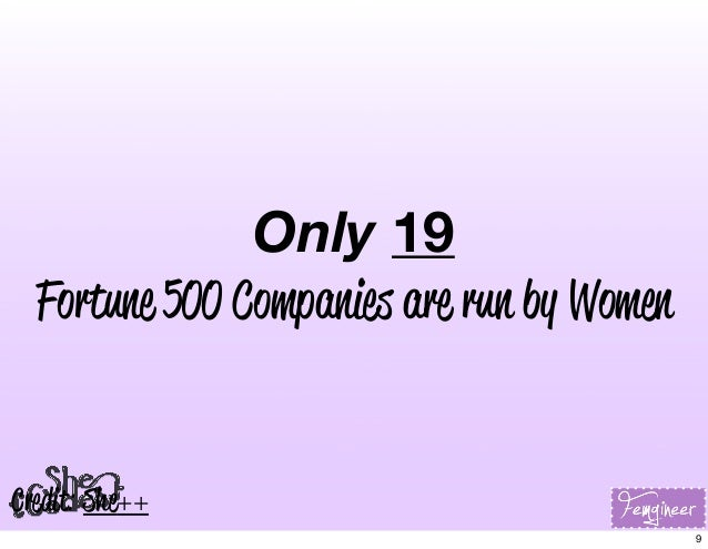 Only 19 Fortune 500 Companies are run by Women Credit: She++ 9