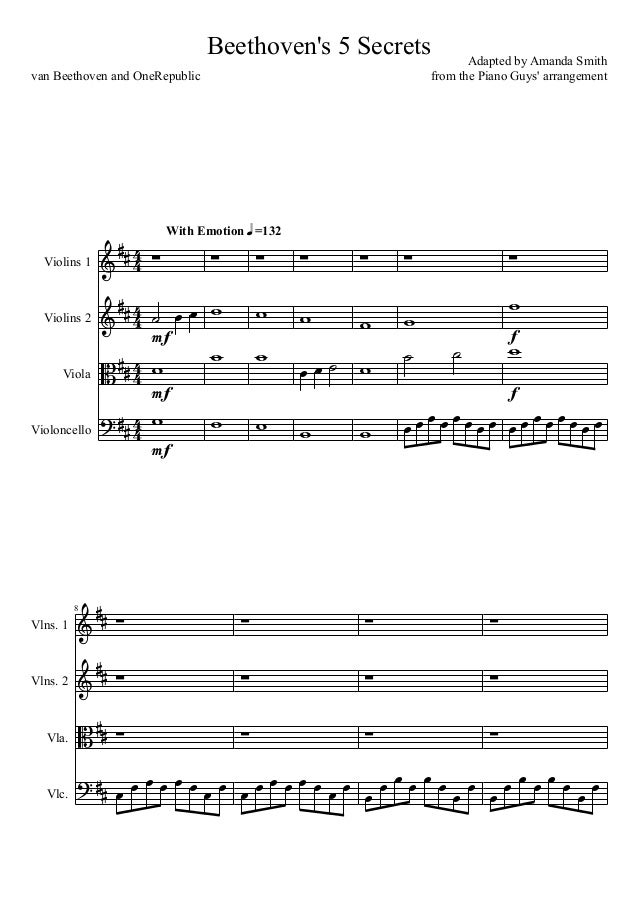 Beethovens 5 Secrets Violin 1 And 2 Cello And Viola