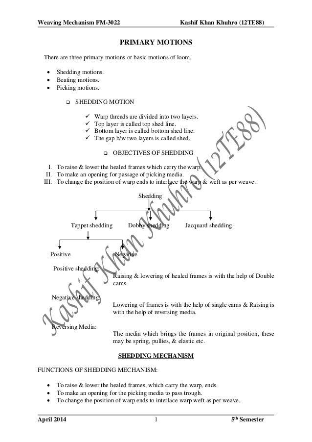 Weaving Mechanism FM-3022 Kashif Khan Khuhro (12TE88) April 2014 5th Semester1 PRIMARY MOTIONS There are three primary mot...
