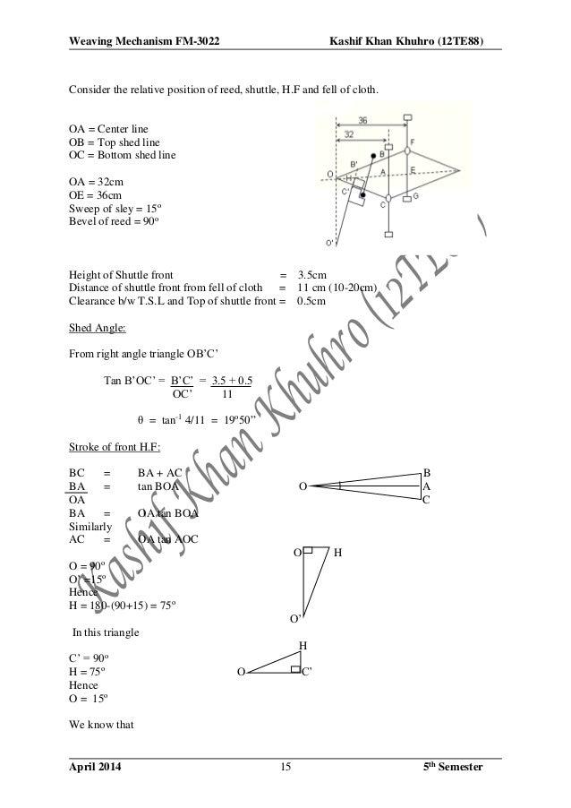 Weaving Mechanism FM-3022 Kashif Khan Khuhro (12TE88) April 2014 5th Semester15 Consider the relative position of reed, sh...