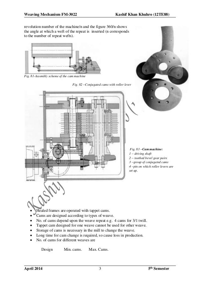 Weaving Mechanism FM-3022 Kashif Khan Khuhro (12TE88) April 2014 5th Semester3 revolution number of the machine/n and the ...