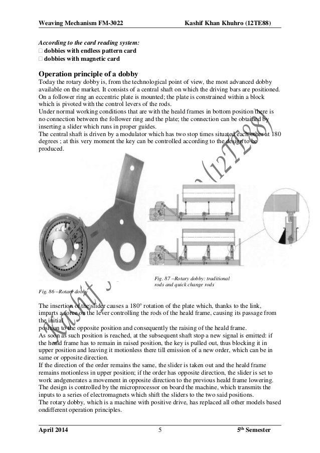 Weaving Mechanism FM-3022 Kashif Khan Khuhro (12TE88) April 2014 5th Semester5 According to the card reading system: dob...