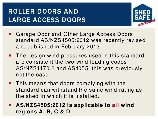Shed specification module 2014 2015 for Garage door wind code ratings