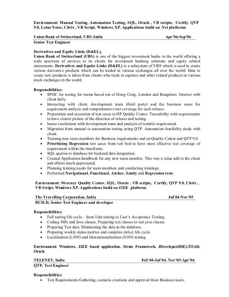 Sample Qa Resume Software Test Engineer Resume Samples