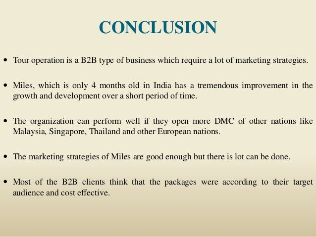 B2B marketing in tour operations