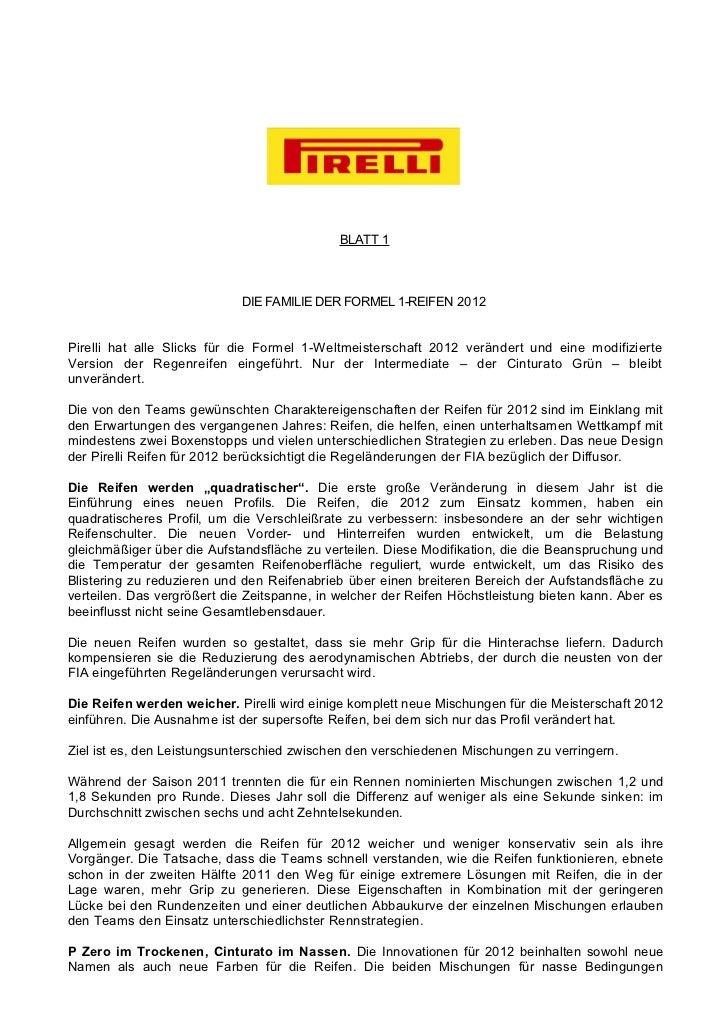 BLATT 1                            DIE FAMILIE DER FORMEL 1-REIFEN 2012Pirelli hat alle Slicks für die Formel 1-Weltmeiste...