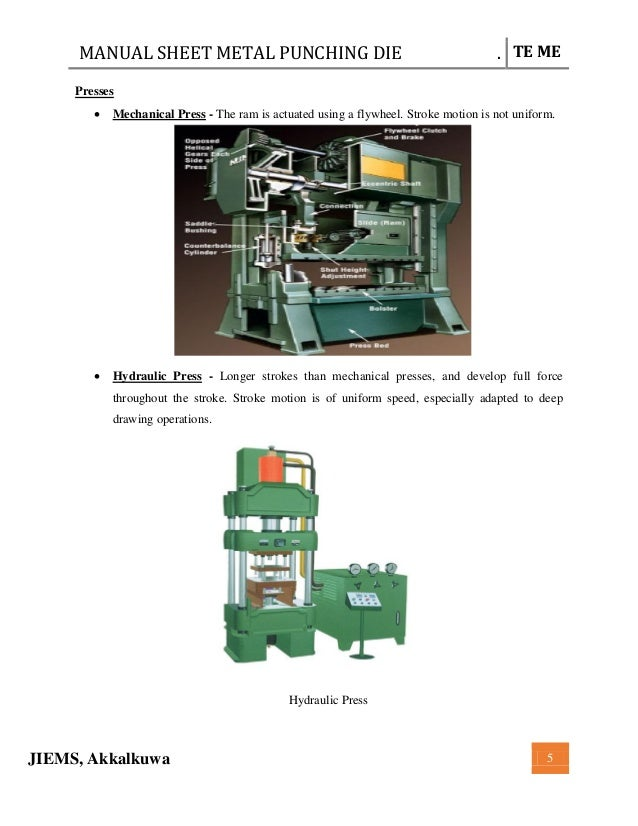complete minor project report on manual punching die in pdf