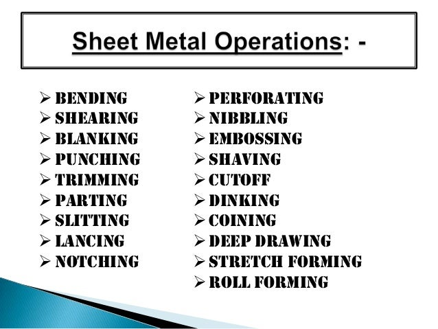 Common Sheet Metal Operations Sheet Metal Operations 008