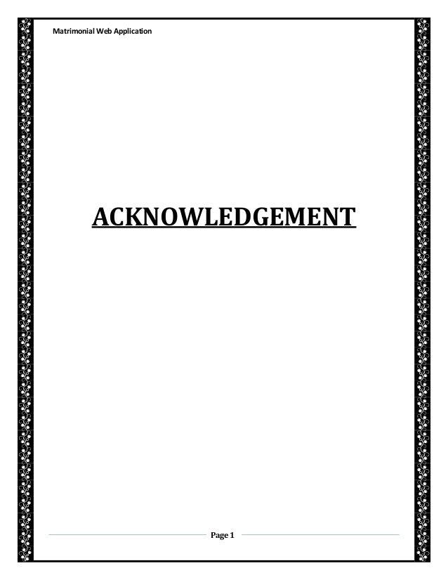 Matrimonial Web ApplicationPage 1ACKNOWLEDGEMENT