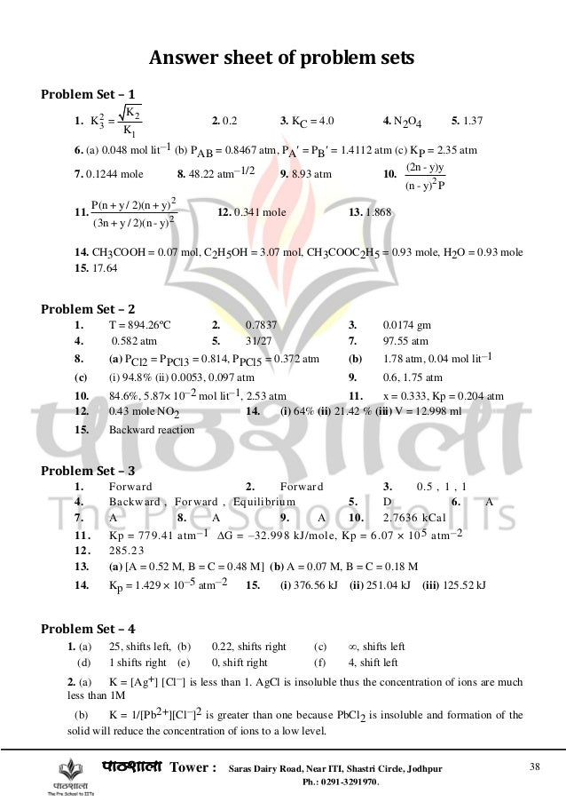 chemical equilibrium for iit jee