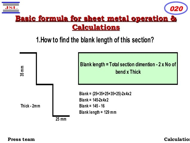 sheet metal calculation formula pdf