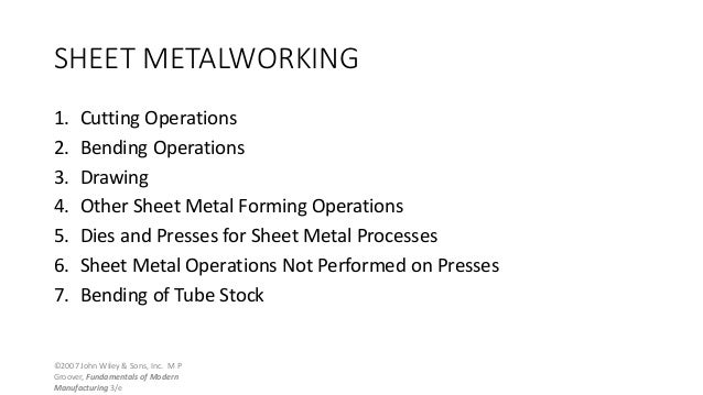 ©2007 John Wiley & Sons, Inc. M P Groover, Fundamentals of Modern Manufacturing 3/e SHEET METALWORKING 1. Cutting Operatio...