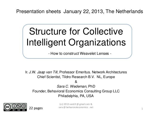 Presentation sheets January 22, 2013, The Netherlands     Structure for Collective    Intelligent Organizations           ...