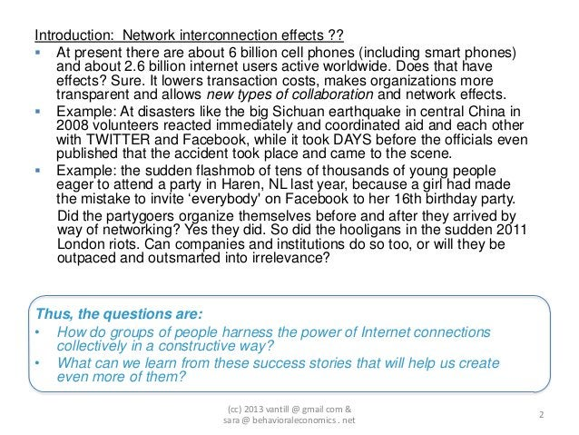 Introduction: Network interconnection effects ?? At present there are about 6 billion cell phones (including smart phones...