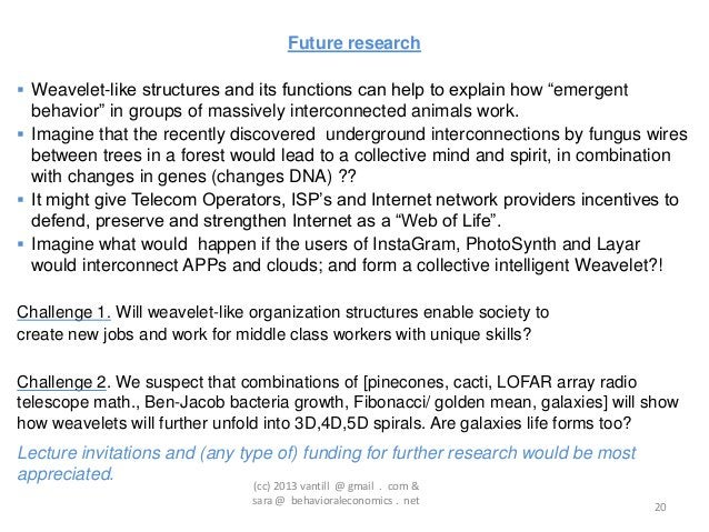 """Future research Weavelet-like structures and its functions can help to explain how """"emergent  behavior"""" in groups of mass..."""