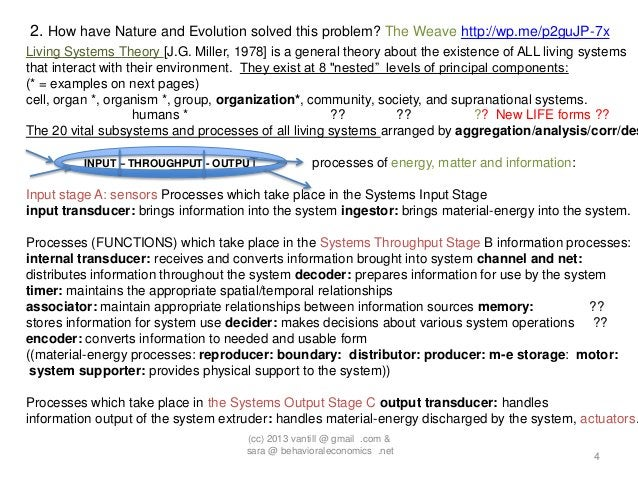 2. How have Nature and Evolution solved this problem? The Weave http://wp.me/p2guJP-7xLiving Systems Theory [J.G. Miller, ...
