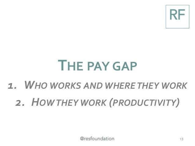 THE PAY GAP 1. WHO WORKS AND WHERETHEY WORK 2. HOWTHEY WORK (PRODUCTIVITY) 13