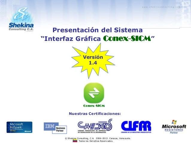 Versión 1.4 Todos los Derechos Reservados. © Shekina Consulting, C.A. 2006-2013. Caracas, Venezuela. Nuestras Certificacio...
