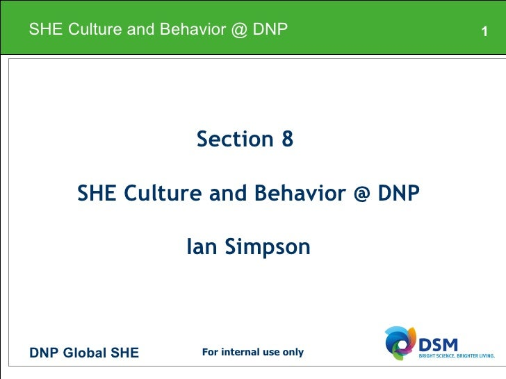 Section 8  SHE Culture and Behavior @ DNP Ian Simpson SHE Culture and Behavior @ DNP