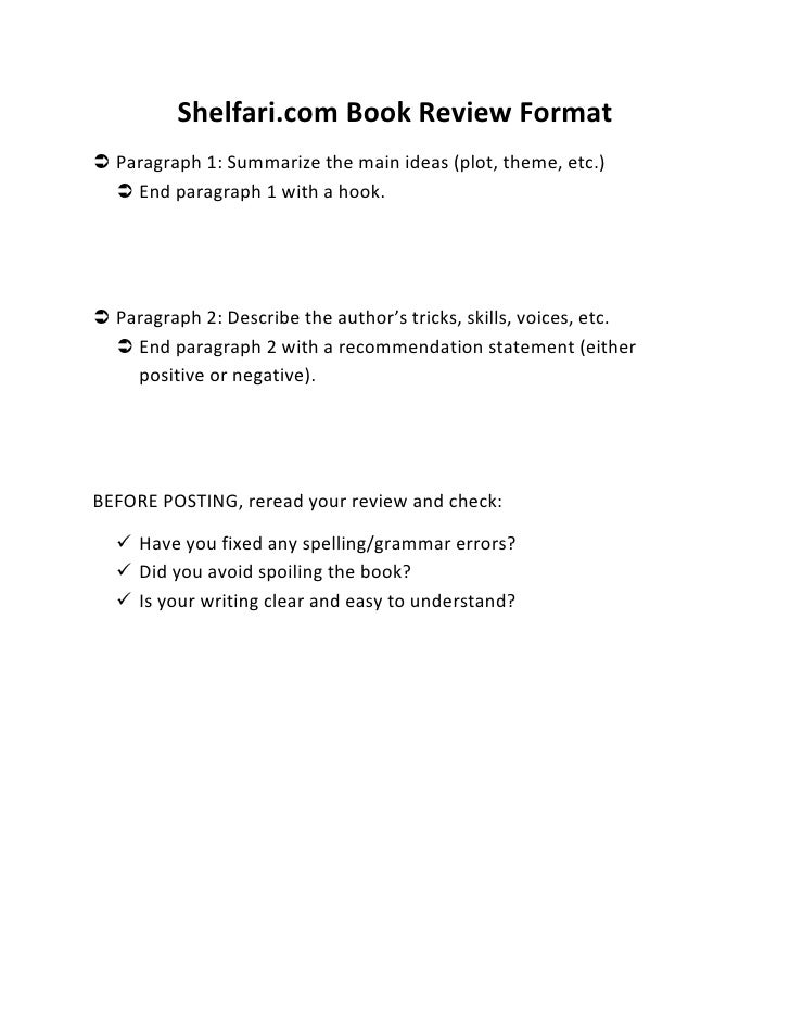 format for a book review