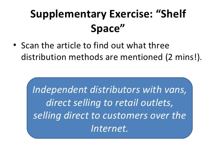 "Supplementary Exercise: ""Shelf Space"" <ul><li>Scan the article to find out what three distribution methods are mentioned (..."
