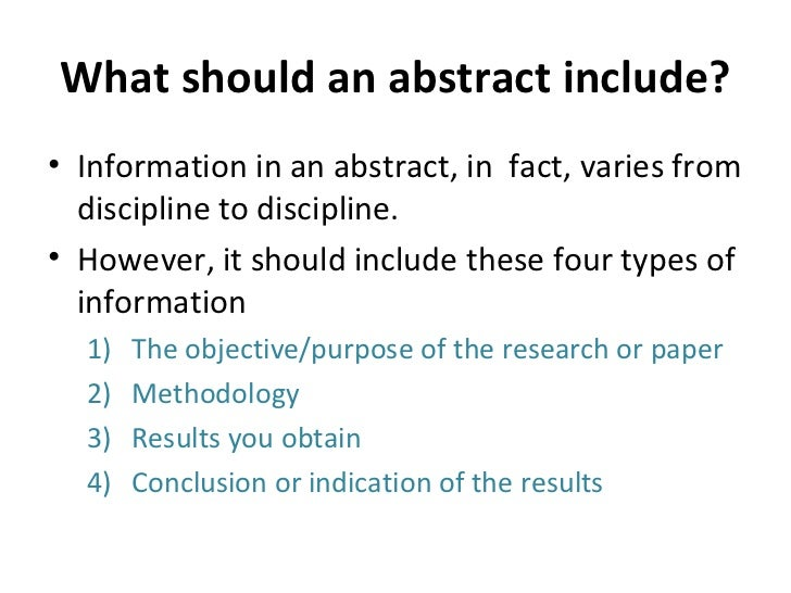 what to include in an abstract for a research paper For longer research papers, dissertations and theses, writing an abstract is an essential part of the process just include a link/reference back to this page.
