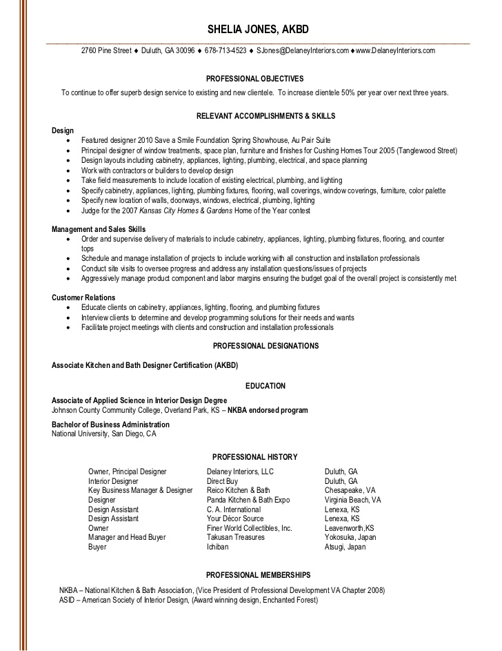Interior Design Resume Objective Examples Homedecoratorspace