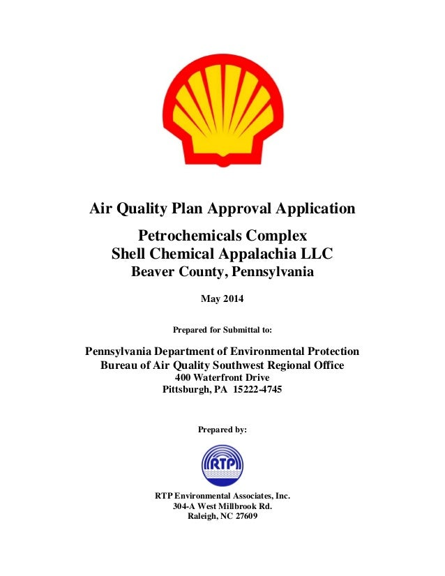 Air Quality Plan Approval Application  Petrochemicals Complex  Shell Chemical Appalachia LLC  Beaver County, Pennsylvania ...