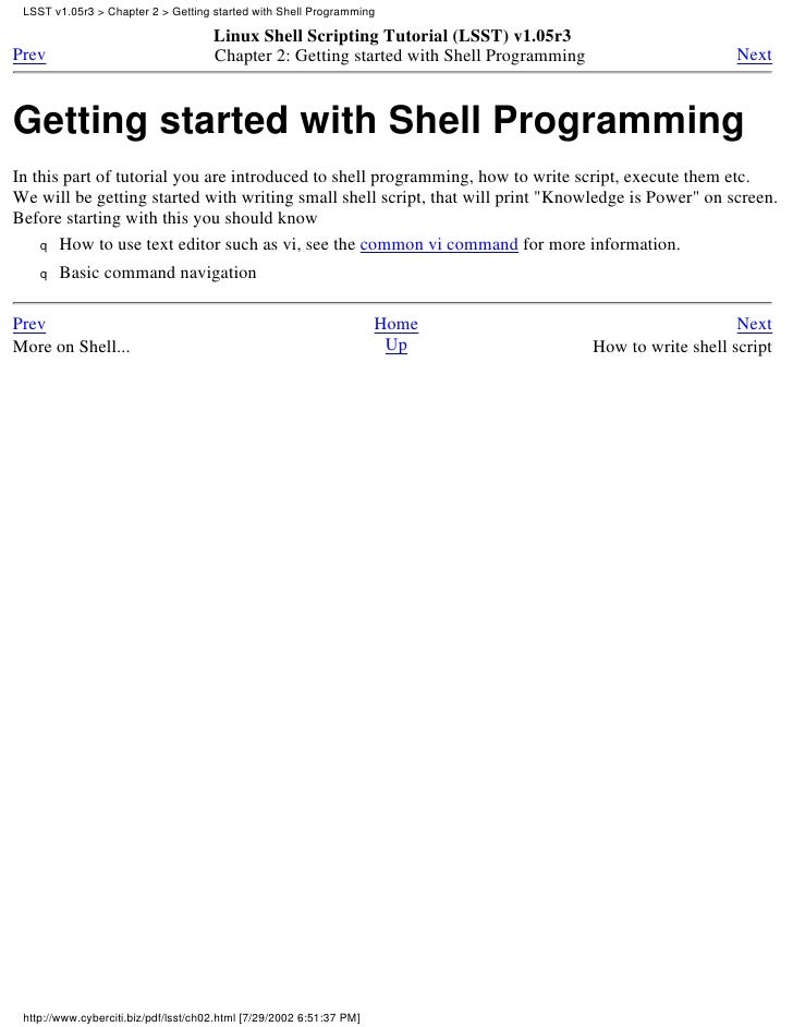 How to write practical shell scripts