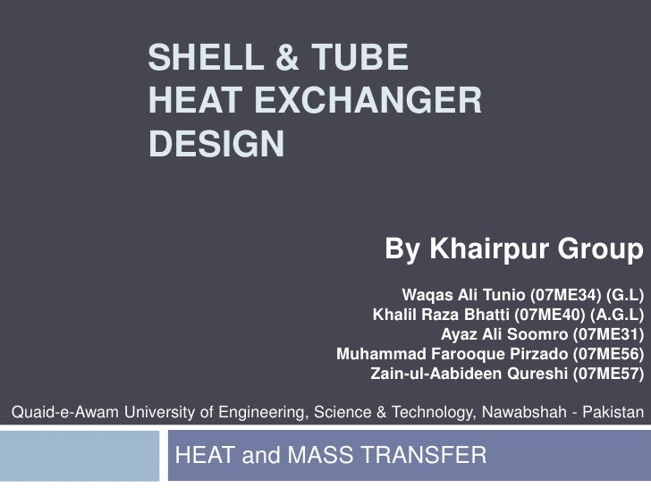 Shell and tube hx (khairpur group)