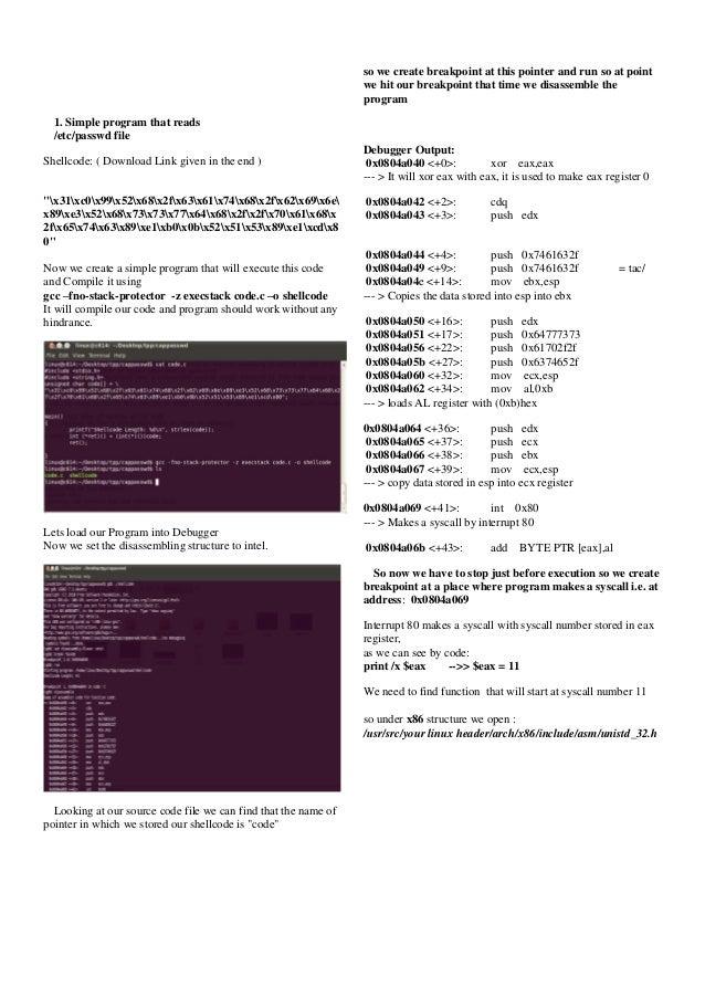 Linux Shellcode disassembling Slide 2