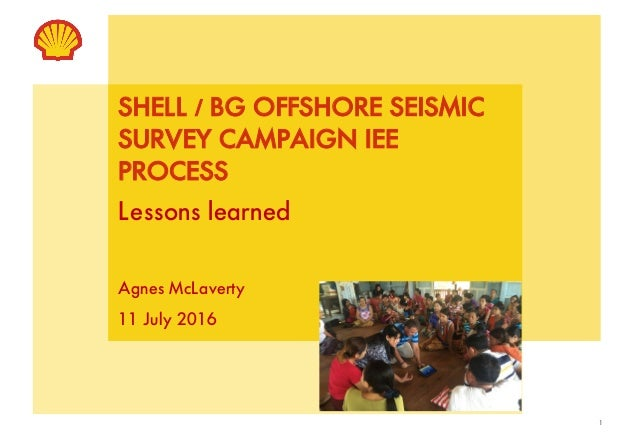 1 SHELL / BG OFFSHORE SEISMIC SURVEY CAMPAIGN IEE PROCESS Lessons learned Agnes McLaverty 11 July 2016