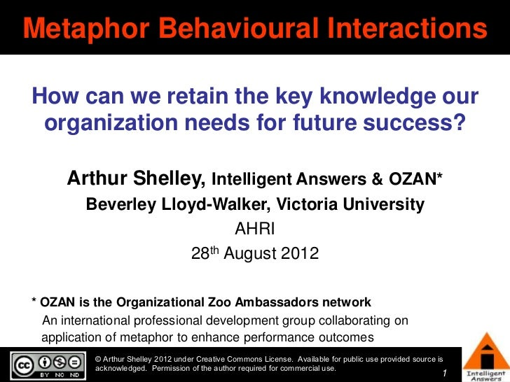 Metaphor Behavioural InteractionsHow can we retain the key knowledge our organization needs for future success?      Arthu...