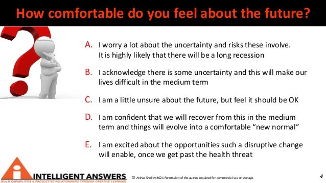 4 How comfortable do you feel about the future? A. I worry a lot about the uncertainty and risks these involve. It is high...