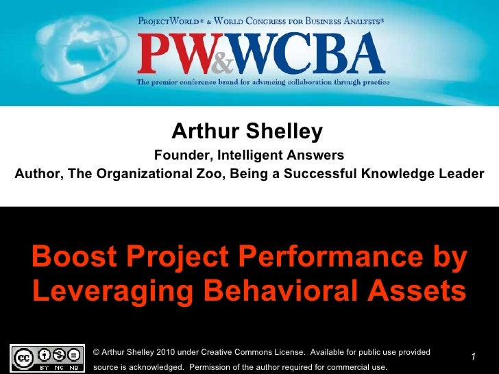 Boost Project Performance by Leveraging Behavioral Assets <ul><li>Arthur Shelley   </li></ul><ul><li>Founder, Intelligent ...
