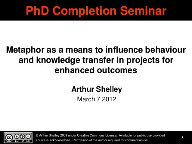 PhD Completion SeminarMetaphor as a means to influence behaviour  and knowledge transfer in projects for           enhance...