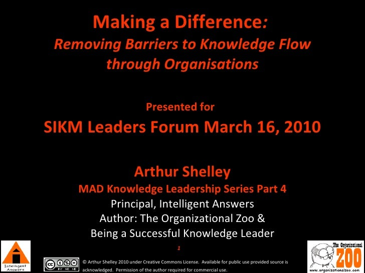 Making a Difference :  Removing Barriers to Knowledge Flow through Organisations   Presented for   SIKM Leaders Forum Marc...