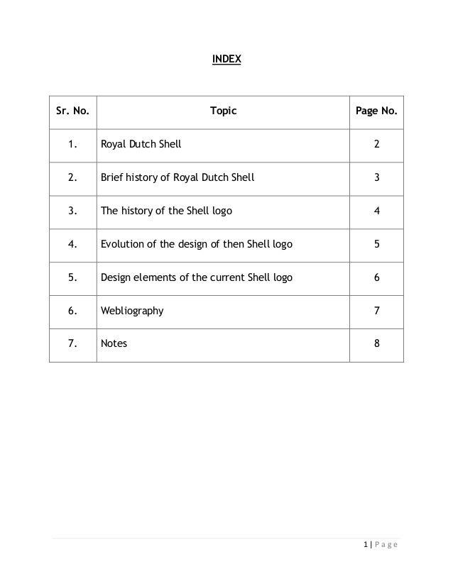 INDEXSr. No.                           Topic                Page No.  1.      Royal Dutch Shell                           ...