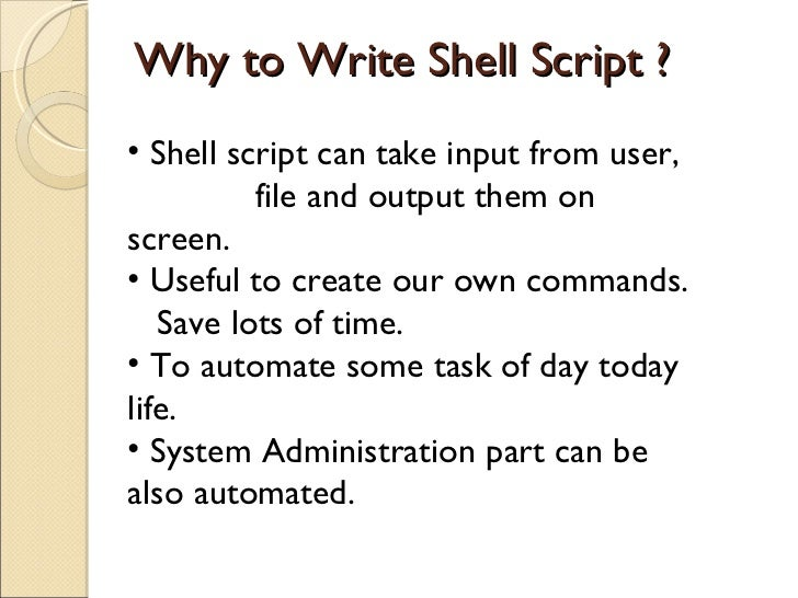 How to write a shell script