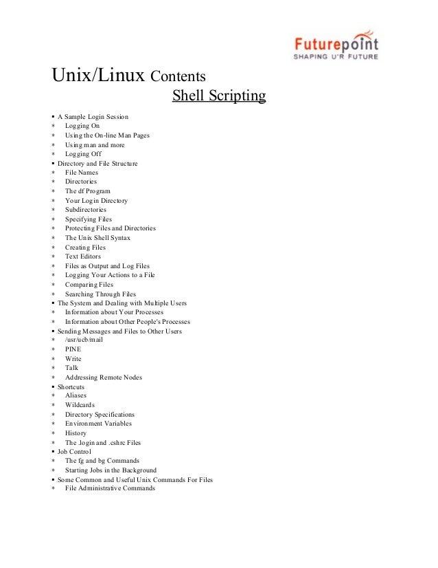 Unix/Linux Contents Shell Scripting  ∗ ∗ ∗ ∗  ∗ ∗ ∗ ∗ ∗ ∗ ∗ ∗ ∗ ∗ ∗ ∗ ∗ ∗  ∗ ∗  ∗ ∗ ∗ ∗ ∗  ∗ ∗ ∗ ∗ ∗ ∗  ∗ ∗  ∗  A S...