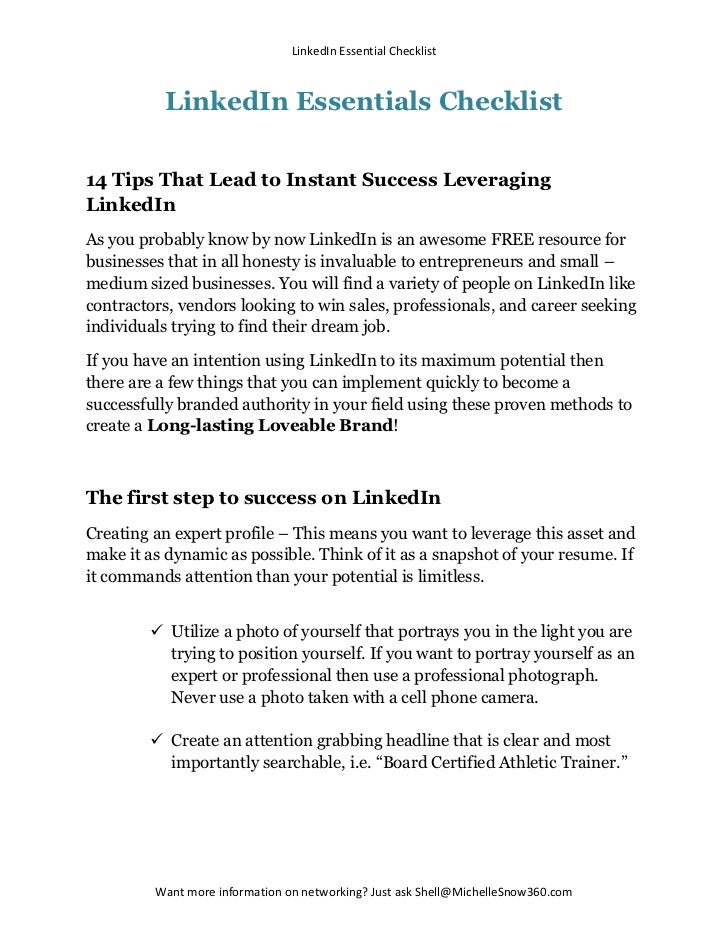 LinkedIn Essential Checklist          LinkedIn Essentials Checklist14 Tips That Lead to Instant Success LeveragingLinkedIn...