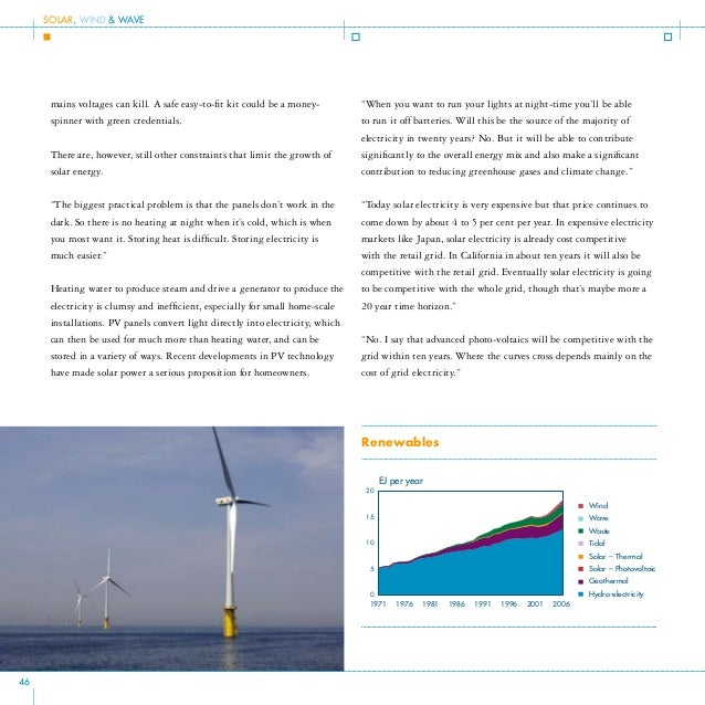Wind Power As much as 3 per cent of energy from the Sun that hits the earth is converted into wind energy, according to so...