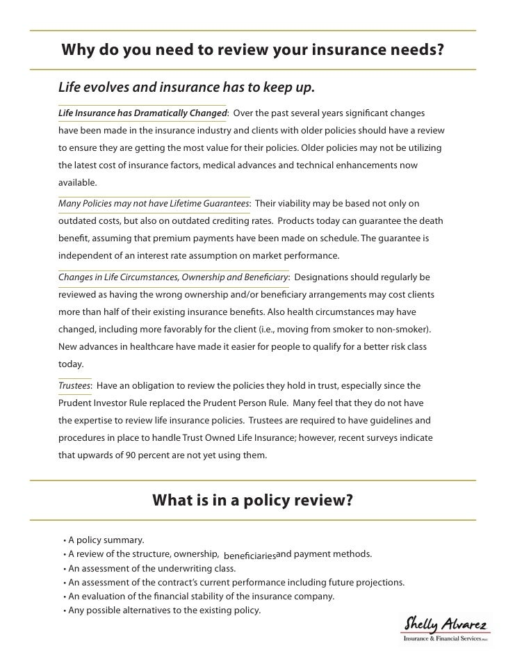 Shelly Alvarez Insurance E Policy Review