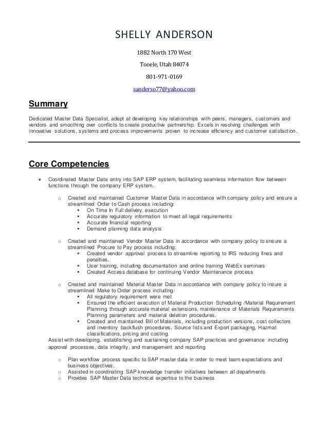 Shelly Anderson Resume 2016