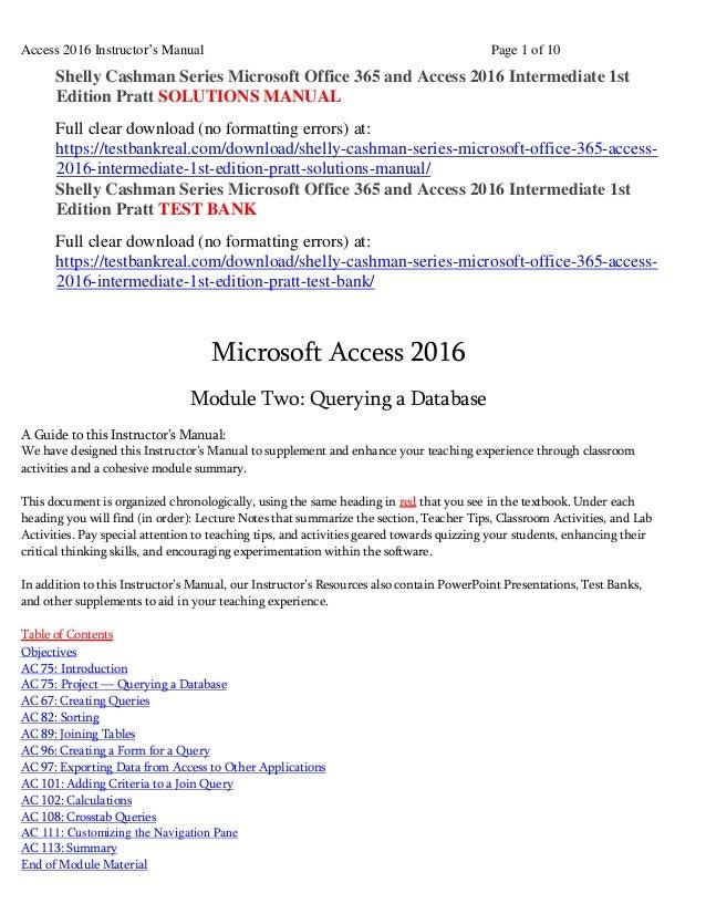 shelly cashman series microsoft office 365 and access 2016 intermedia rh slideshare net ms access 2007 lab manual microsoft access 2007 tutorial & lab manual